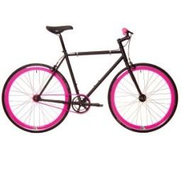 Bicicleta origin 8 fix8 negra - ruedas rosas