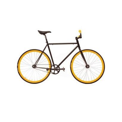 Bicicleta fixie modelo Kamikaze negra detalles amarillos