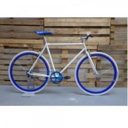Bicicleta 9 blanca-azul (2 frenos)