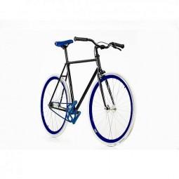 Bicicleta Negra-Azul Fixie
