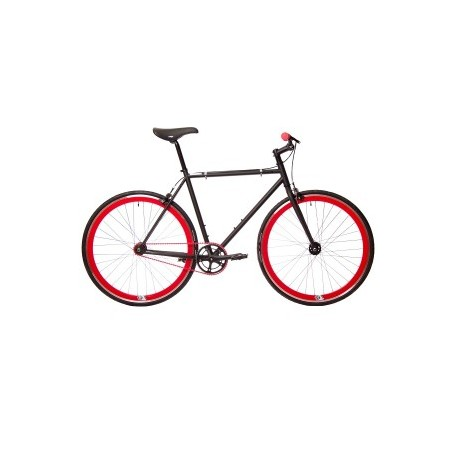 Bicicleta origin 8 fix8 negra - ruedas rojas
