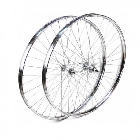 Juego ruedas varillas 700x35B plata