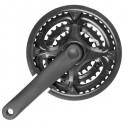Biela MTB acero negra 3 platos protector 24/34/42