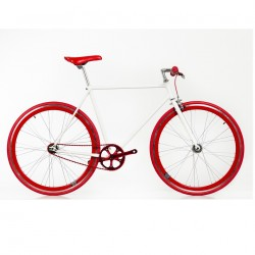 Bicicleta blanca roja fixie